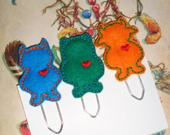 Set Of 3 Wild Thing Love - PaperClip - Felt Planner Clip - Planner Accessory - Stationery - Cute Paper Clip - Bookmark - Planner Clip
