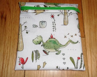Sandwich Baggie Waterproof Lined Zip Pouch - Sandwich bag - Snack Bag - Bikini Bag - Lunch Bag Make Up Bag Dinosaur T Rex Small  Poppins