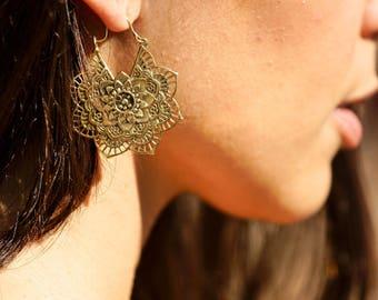 Mandala Flower Earrings, Boho Earrings, Gypsy Earrings, Brass Earrings, Indian Earrings, Bohemian Earrings, Tribal Earrings, Brass Jewelry