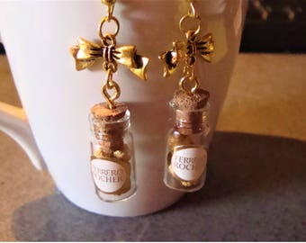 dangling earrings, mini mini chocolates in polymer with a glass jar