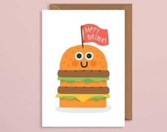 Funny birthday card. burger birthday card. birthday card boyfriend. best friend. sister. mum. dad. handmade. happy birthday celebration
