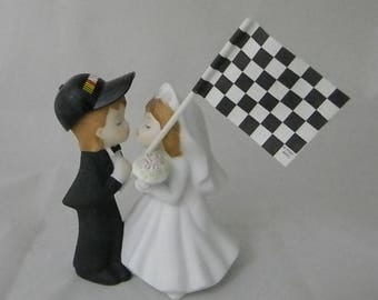 Wedding Reception Race Car Racing Flag Kissing Couple Cake Topper