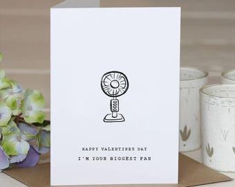 Biggest Fan // Pun Card  // Birthday Card // Pun birthday card // Pun thank you card // Valentines Day Card // Valentines Pun
