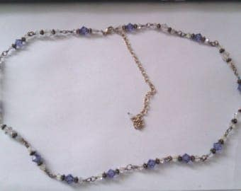 vintage silver purple and clear crystal bead necklace