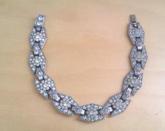 deco style silver coloured diamante bracelet