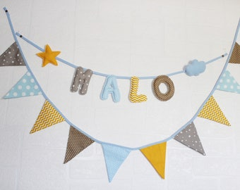 """Fabric Garland """"custom"""" letters first name of your choice + Garland 10 assorted flags."""