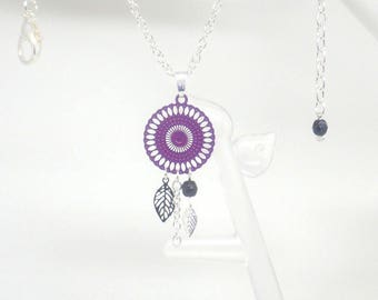 Necklace with long purple silver black rose leaves Czech glass beads prints trendy modern wedding cocktail creation Odacassie