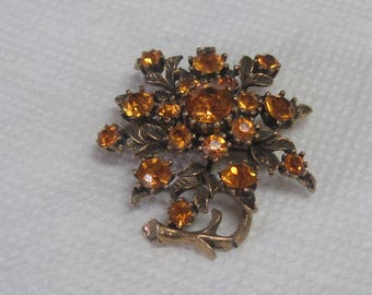 Core marked Flower brooch with Orange Flowers