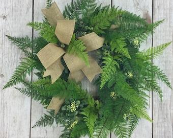 Farmhouse Wreath, Year Round Wreaths, Faux Fern Wreath, All Season Wreaths, Wreaths for Front Door, Grapevine Wreaths, Outdoor Fern Wreaths