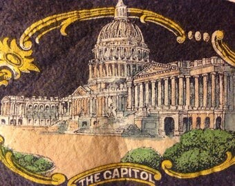Vintage felt pennant of Washington DC - Capitol Building