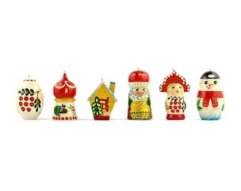 6 Mixed Russian Wooden Christmas Ornaments