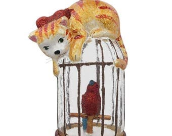 """5"""" Curious Cat on a Parrot Bird Cage Glass Christmas Ornament"""