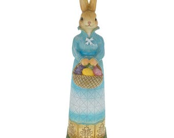 "11"" Bunny Mother Holding Easter Basket Filled With Decorated Easter Eggs Figurine"