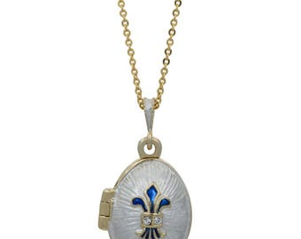 "White Enamel Fleur de Lis Royal Egg Pendant Necklace 22"""