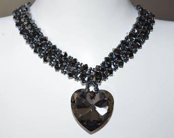 Swarovski crystal necklace hematite 2x-heart 28 mm crystal silver night