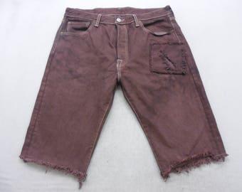 Mens Burgundy Dyed Denim Levi's 501 Cut Off Bermuda Jean Shorts Size 33 W