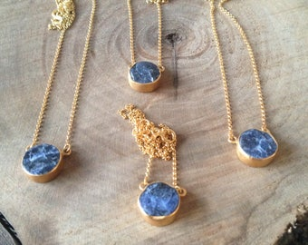 Raw sodalite gold necklace,gift for her