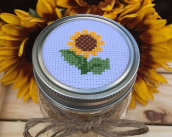 Sunflower Mason Jar, Mason Jar Decor, Cross Stitch Mason Jar Lid