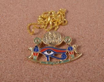 Egyptian Coloured Eye Of Horus With Solar Disk Necklace
