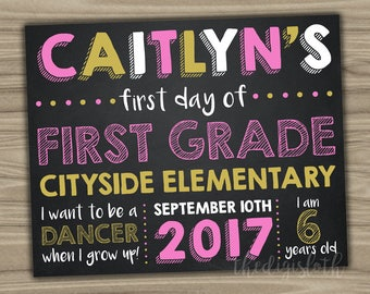 First Day Of School Sign - Custom Printable - Chalkboard Photo Prop - 1st 2nd Grade Start Of School Year - Personalized - Pink Gold - S026