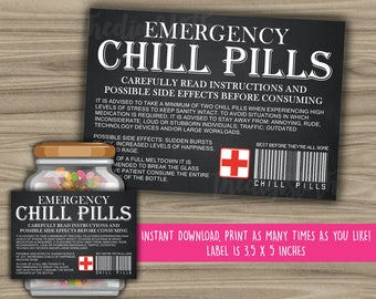 Chill Pills Printable Chalkboard Label - Funny Gift - INSTANT DOWNLOAD - Christmas Gift For Boss - CoWorker - Work Office Gag Gift - PL13