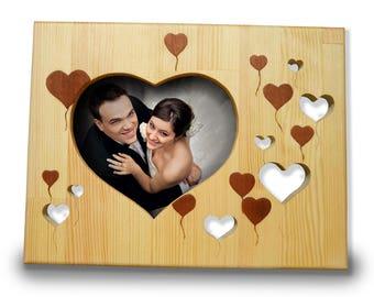 Photo Love Heart frame Wooden frame Love frame Anniversary gift Wedding Shower Gift Engagement frame Wedding gift Personalized family frame