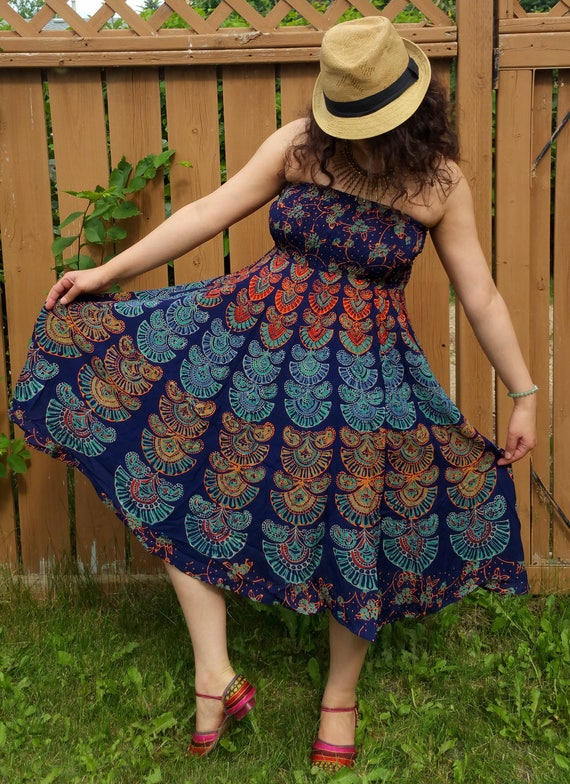 XS/S/M/L/XL Block print dress/Hippie Bohemian dress/1970's style/vintage style dress/Strapless dress/Bohemian dress/Gypsy dress/Maxi dress