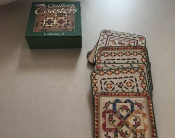 Boxed heavy cardboard quilt coasters in their original box
