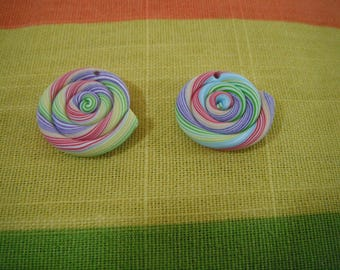 2 beads lollipop Fimo polymer clay - food jewelry