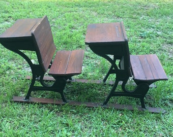Antique Double School Desk, Children's Desk, Home School, Tandem Desk, Industrial Furniture