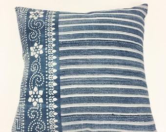 Vintage Indigo Pillow, Part African indigo, part Chinese Hill Tribe Batike! Faded Blue, Boho or Coastal Style