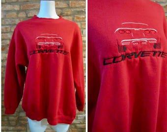 Vintage Sweatshirt • 90s Corvette Sweatshirt • XL Crew Neck • Vintage Chevy Corvette Shirt • 90s Sweatshirt • Embroidered Logo Chevrolet