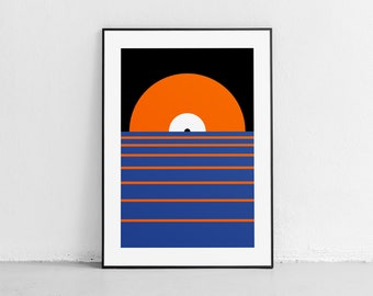 Sunset. Wall art. Original poster. High quality giclée print. signed by designer.