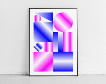 Mirrors. Wall art. Original poster. High quality giclée print. signed by designer.