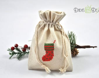 Linen bag for Santa Claus/Christmas, embroidered