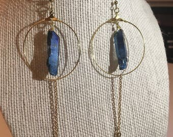Blue luster stone earrings