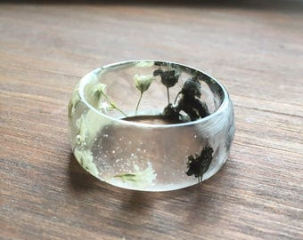 Resin ring-real flower ring-resin jewelry-gypsophila flower-pressed flower ring-gift