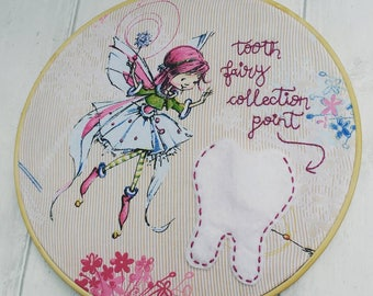Tooth fairy collection, tooth fairy pocket, fairy wallart gift, embroidery hoop, hand embroidered, ooak, gift for her, little girl, heirloom