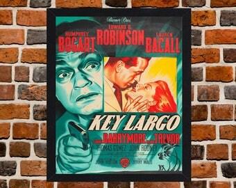 Marco Cayo Largo culto Película Noir película cartel de tamaño A3 montado en negro o blanco marco (versión -3)