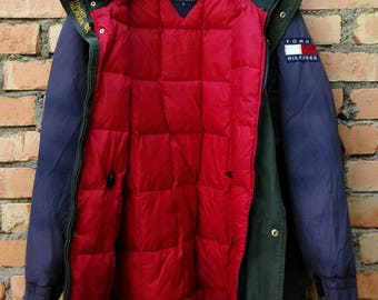 Rare!!! Vintage Tommy Hilfiger Down Puffer Bubble Jacket Hoodie Medium Size
