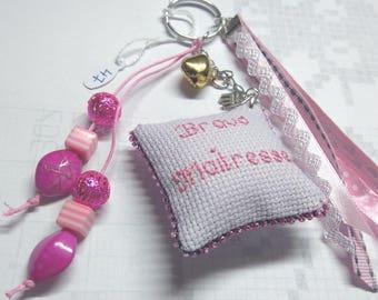 Keychain, bag embroidered gift teacher 47 hand charm