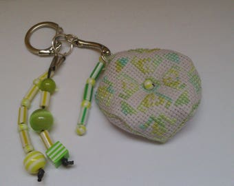 Keychain, bag embroidered 17 hand charm