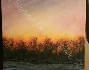 His Sunset  - Original Acrylic Painting Art Print
