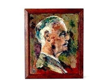 Vintage 1950's English School Portrait - Man in Profile - Original Oil Painting - Male Portrait - Mid Century Portrait
