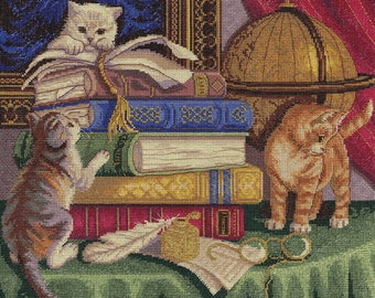 Cross Stitch Kit Kittens with Books