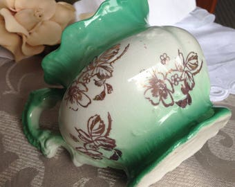 Shaving Mug by Homer Laughlin Green and White Antique Vanity items