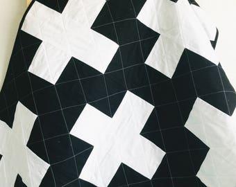 Monochrome Quilt, Modern Quilt, Plus Toddler Quilt, Monochrome Nursery, Modern Baby Quilt, Swiss Cross Quilt, Black White Baby Quilt