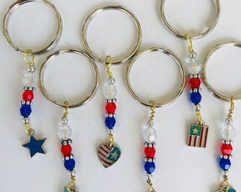 Patriotic Keychains, Gift Exchange, Fishextedner Gift, Cruise Gift, Party Favor, Napkin Ring, Party Favor, Keyring, Pixie Dust Gift,