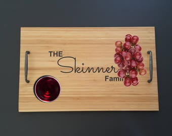 Personalised wooden tray, cheeseboard, serving platter, housewarming family gift