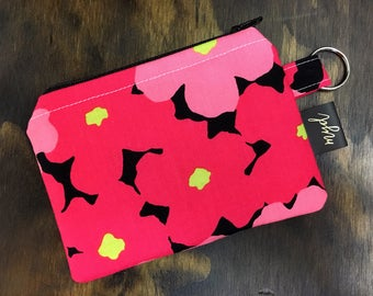 Keychain Card Holder, Wallet, Floral Print, Coin Purse